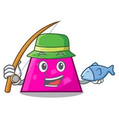Fishing trapezoid mascot cartoon style vector