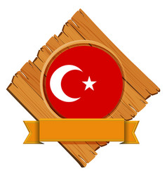 Flag of turkey on wooden board vector