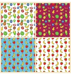 Fruits Seamless Background Set with Funny Lemons vector image