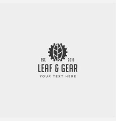 gear leaf logo design environment industrial icon vector image