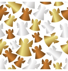 Gold and silver and bronze angels seamless pattern vector