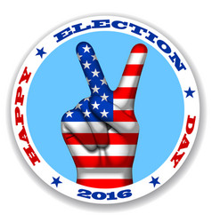 happy election day sticker with a victory symbol vector image