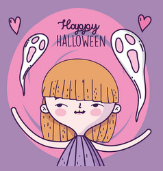 happy halloween celebration girl with ghosts vector image