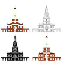 Independence hall philadelphia colored vector