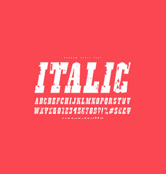 italic slab serif font in western style vector image