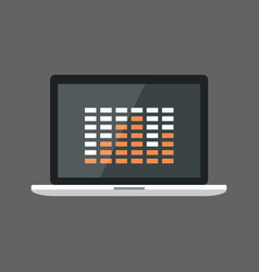 laptop computer with equalizer icon sound studio vector image