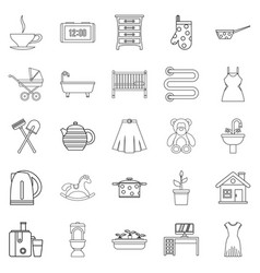 Large room icons set outline style vector