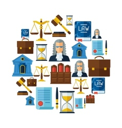 Law icons background in flat design style vector image