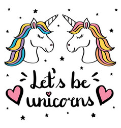 Let s be unicorns hand writing text with pair of vector