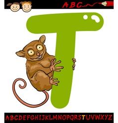letter t for tarsier cartoon vector image