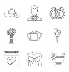 life companion icons set outline style vector image