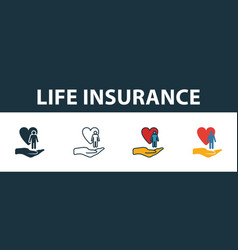 life insurance icon set four elements in diferent vector image