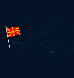 north macedonia on europe map high quality map vector image
