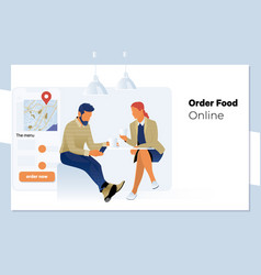 online order young beautiful couple in kitchen vector image