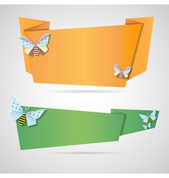 Origami notepaper folded note sheets vector image