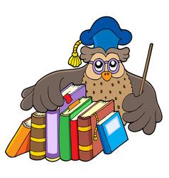 Owl teacher holding books vector