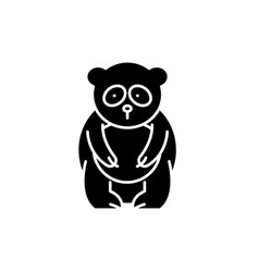 panda bear black icon sign on isolated vector image
