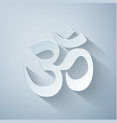 Paper cut om or aum indian sacred sound icon vector