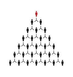 People pyramid with team leader business career vector