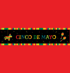 Pinata and maracas cinco de mayo web banner vector
