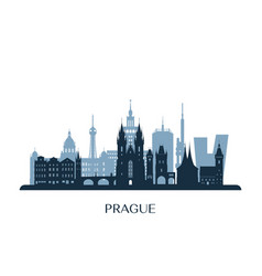 prague skyline monochrome silhouette vector image