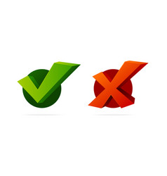 realistic 3d detailed check mark yes and no set vector image