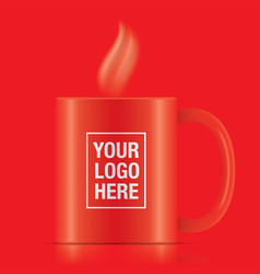red coffee mug vector image