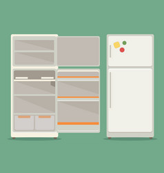 Refrigerator opened fridge open and closed vector