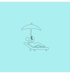 relax under an umbrella on a lounger vector image