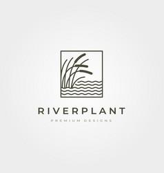 River plant cattail icon logo symbol design vector