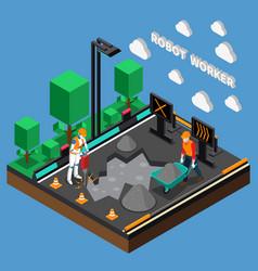 Robot worker professions 3d design concept vector