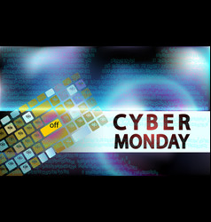Sale technology banner for cyber monday event vector