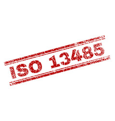 scratched textured iso 13485 stamp seal vector image