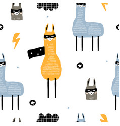 seamless pattern with llamas hero creative hand vector image