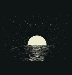 seascape with moon at the night sea vector image
