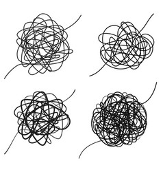 set complicated black line way chaotic texture vector image
