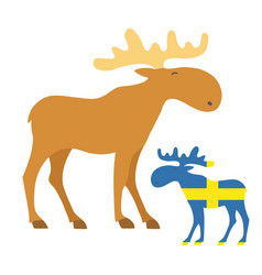 set mooses icon with sweden flag vector image