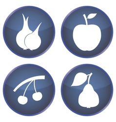 set of buttons with vegetables and fruits vector image