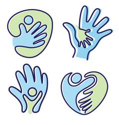 set pictogram icon people hand icon symbol vector image