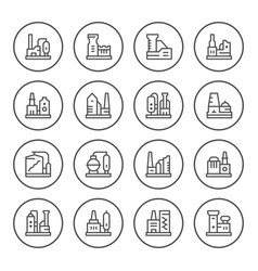 set round line icons factory vector image