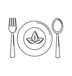 Silhouette spoon fork and plate with leaves vector