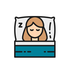 Sleeping girl on bed flat color icon vector