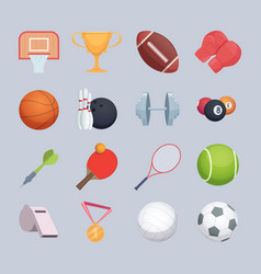 sport equipment balls hockey or golf stick vector image