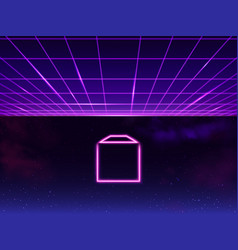 synthwave retro sci-fi 80s 90s neon background vector image