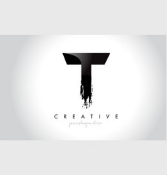 t letter design with brush stroke and modern 3d vector image