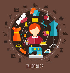 Tailor shop and sewing concept vector