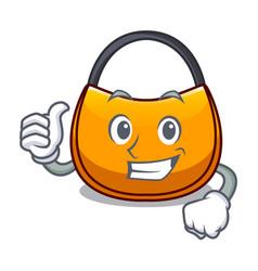 Thumbs up beautifully hobo bag on character funny vector