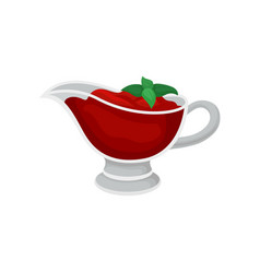 tomato sauce in glass gravy boat with green basil vector image