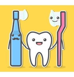 Tooth and toothbrushes vector