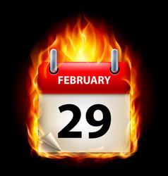 twenty-ninth february in calendar burning icon on vector image